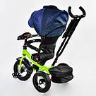 Трехколесный велосипед Best Trike с пультом и надувными колесами, синий с салатовым, фото 3