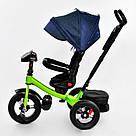 Трехколесный велосипед Best Trike с пультом и надувными колесами, синий с салатовым, фото 5