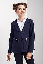 Детский синий школьный жакет на девочку с удобными карманами.