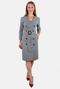 Платье клетчатое с поясом 44-50 р