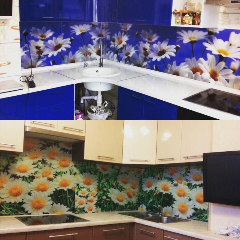 Стеклянный фартук - ромашки - изготовление скинали в Днепре