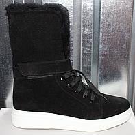 Ботинки черные на натуральном меху от производителя модель РИ105-1, фото 1