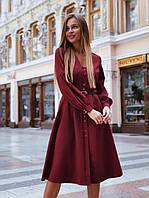 Элегантное платье на пуговицах с поясом на талии