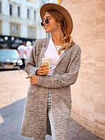 Кардиган женский удлиненный вязаный теплый с карманами яркие цвета Pok178