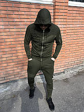 Оливковый спортивный костюм мужской Open  (Турция) {S}