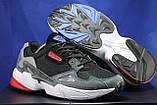 Чоловічі кросівки чорні з сірим на білій підошві сітка і натуральний замш в стилі Adidas, фото 5