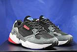 Чоловічі кросівки чорні з сірим на білій підошві сітка і натуральний замш в стилі Adidas, фото 8