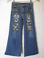 Джинси підліткові для дівчинки розкльошені 6028 з монетками сині 19