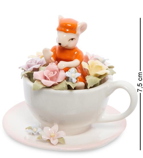 """Статуэтка """"Мышка в цветочной чашке"""" 7,5 см., фарфор Pavone, Италия"""