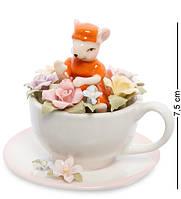 """Статуэтка """"Мышка в цветочной чашке"""" 7,5 см., фарфор Pavone, Италия, фото 1"""