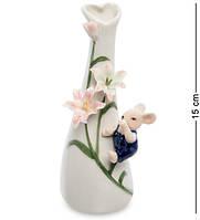 "Ваза ""Мышонок с цветами"", 15 см., фарфор Pavone, Италия, фото 1"