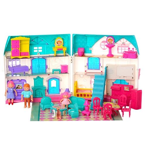 Кукольный домик с фигурками человечков и мебелью