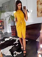 Платье рубашка на пуговицах горчичного цвета