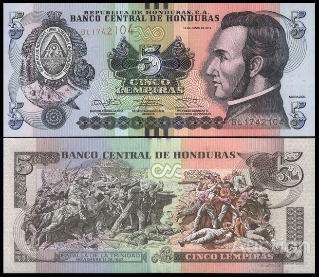 Гондурас 5 лемпира 2016 состояние UNC