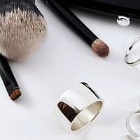 Широкое простое серебряное кольцо 925 пробы покрытое родием