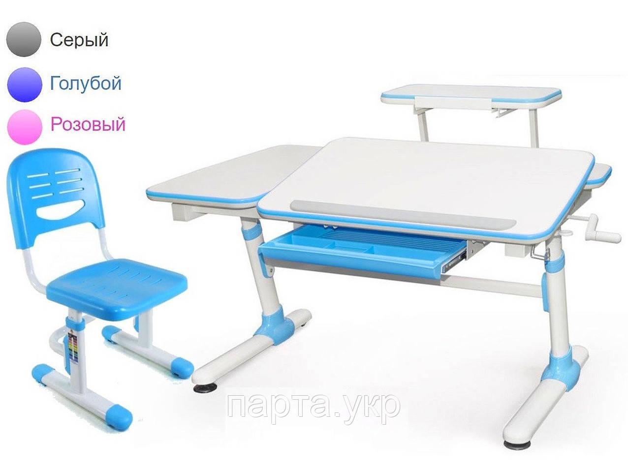 Стол трансформер 120 см (с полкой) и стул растущий, 3 цвета