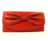 Кожаный кошелек Prensiti 42002 красный, монетница снаружи, расцветки в наличии