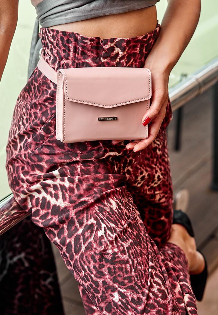Сумка-клатч на пояс через плече жіноча шкіряна, рожева