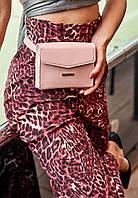 Сумка-клатч на пояс через плече жіноча шкіряна, рожева, фото 1