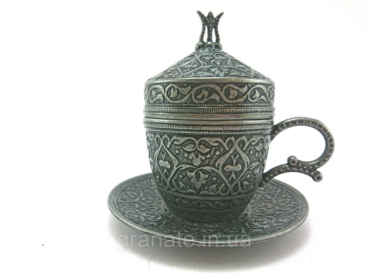 Турецкая чашка для кофе 110 мл, цвет: тёмное серебро