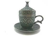 Турецкая чашка для кофе 110 мл, цвет: тёмное серебро, фото 1