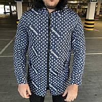 Supreme x Louis Vuitton Jacquard Monogram Blue Parka Куртка мужская (реплика)