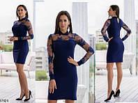 Красивое нарядное платье женское темно-синий креп-дайвинг 42-46 размеров
