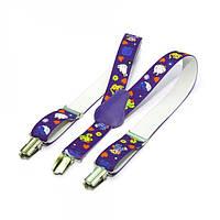 Підтяжки дитячі з візерунком у десяти кольорах. Фіолетовий/звірята.