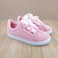 ТІЛЬКИ 39 РОЗМІР Жіночі рожеві (пудровие) кросівки черевички зі стрічками з бантами в стилі Puma Basket