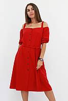 S, M, L / Зручне повсякденне плаття Francheska, червоний