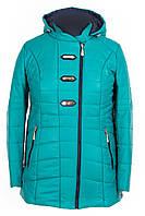 Куртка осенняя женская  большие размеры   52-62 бирюза