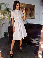 Белое платье-рубашка с вышивкой ришелье приталенное поясом, фото 1