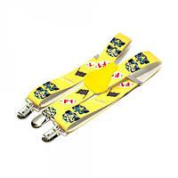 Підтяжки дитячі з візерунком у восьми кольорах. Жовтий/клоуни.