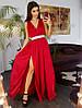 Шелковое платье миди с декорированным поясом красного цвета