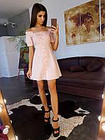 Чайное коттоновое платье к на пуговицах с открытыми плечами, фото 1