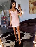 Персиковое облегающее платье в полоску на молнии, фото 1
