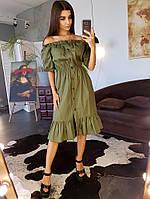 Хлопковое платье с оборкой по низу и открытыми плечами, фото 1
