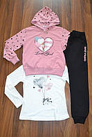 Спортивный трикотажный костюм тройка для девочек.Размеры 134-164 см.Фирма S&D. Венгрия, фото 1