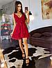 Бордовое легкое платье с драпировкой на юбкой