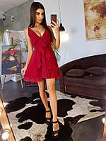 Бордовое легкое платье с драпировкой на юбкой, фото 1