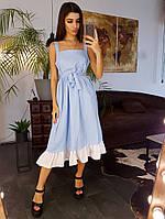 Голубое льняное платье свободного кроя с оборкой по низу, фото 1