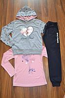 Спортивный трикотажный костюм тройка для девочек.Размеры 140-164 см.Фирма S&D. Венгрия, фото 1
