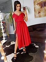 Красное платье мидакси декорированное кружевом