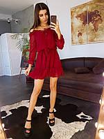 Бордовое платье с открытыми плечами и оборками, фото 1