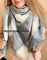 Шарф платок в клетку большой 140 см*140 см серый