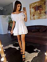 Белое лёгкое платье с кружевными элементами и оборками по краю, фото 1