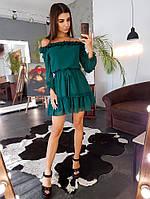 Зеленое платье с открытыми плечами и оборками, фото 1