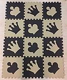 Коврик-пазл EVA , «шах і мат», сіро-бірюзовий набір 12 шт. 1,08 м2, 30х30 см, т. 8-10 мм, 100 кг/м3 TERMOIZOL®, фото 2