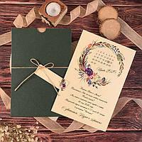 Изумрудные приглашения с цветочным веночком (арт. 74767), фото 1