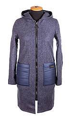 Модное женское демисезонное пальто 42-50 синий